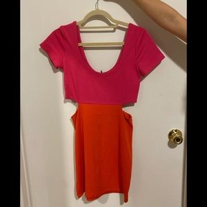 Pink and Orange Cut Out Dress